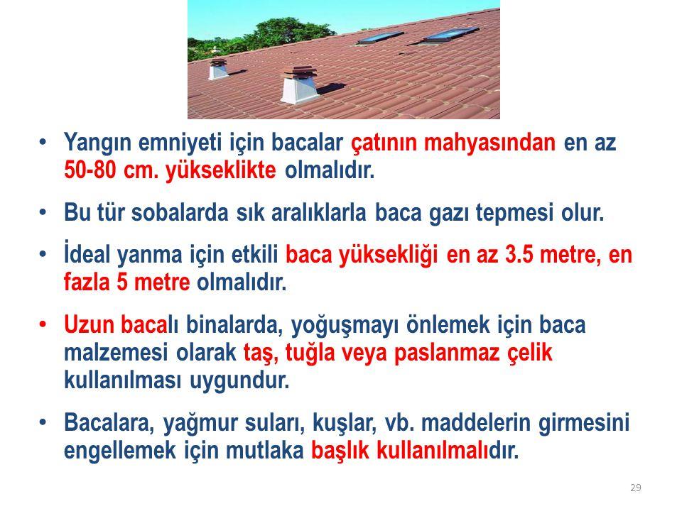 Yangın emniyeti için bacalar çatının mahyasından en az 50-80 cm