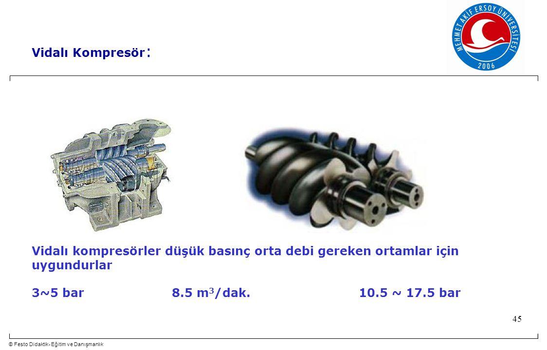 Vidalı Kompresör: Vidalı kompresörler düşük basınç orta debi gereken ortamlar için uygundurlar.
