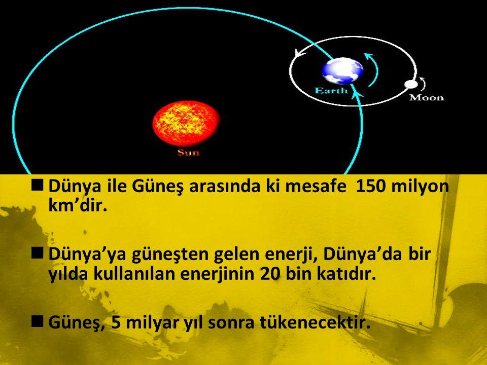 Dünya ile Güneş arasında ki mesafe 150 milyon km'dir.