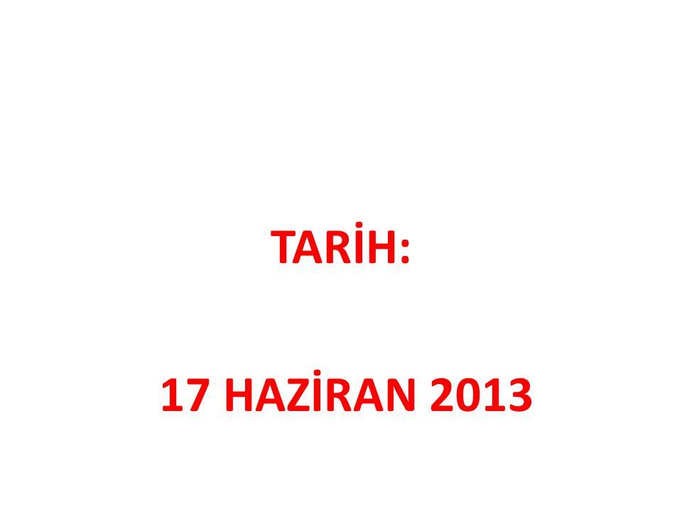 TARİH: 17 HAZİRAN 2013