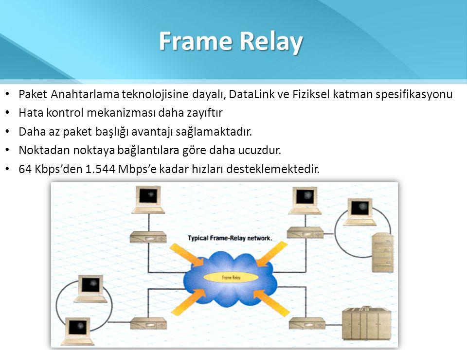 Frame Relay Paket Anahtarlama teknolojisine dayalı, DataLink ve Fiziksel katman spesifikasyonu. Hata kontrol mekanizması daha zayıftır.