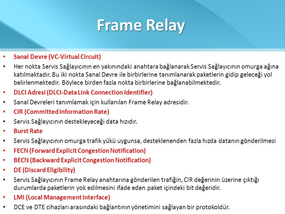 Frame Relay Sanal Devre (VC-Virtual Circuit)