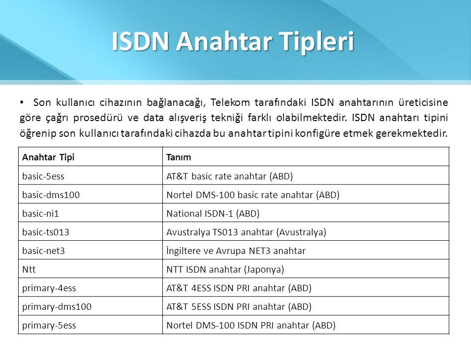 ISDN Anahtar Tipleri