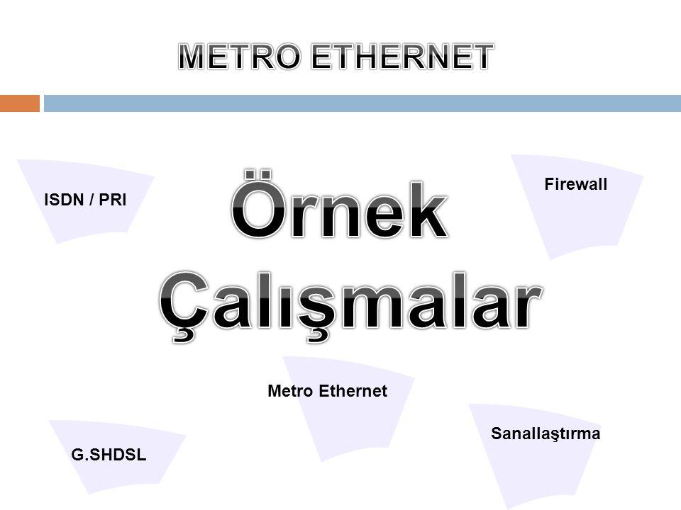 Örnek Çalışmalar METRO ETHERNET Firewall ISDN / PRI Metro Ethernet