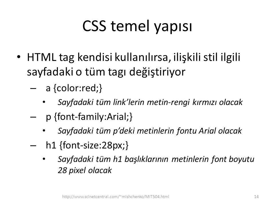 CSS temel yapısı HTML tag kendisi kullanılırsa, ilişkili stil ilgili sayfadaki o tüm tagı değiştiriyor.