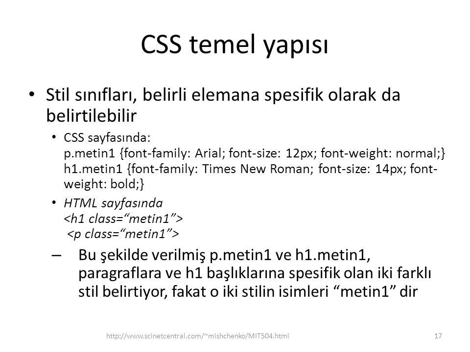 CSS temel yapısı Stil sınıfları, belirli elemana spesifik olarak da belirtilebilir.