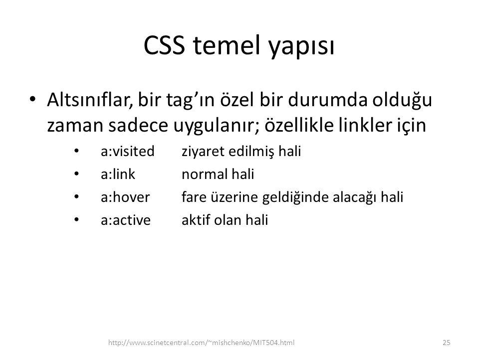 CSS temel yapısı Altsınıflar, bir tag'ın özel bir durumda olduğu zaman sadece uygulanır; özellikle linkler için.