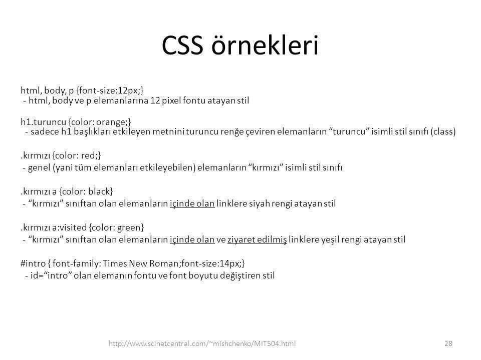 CSS örnekleri