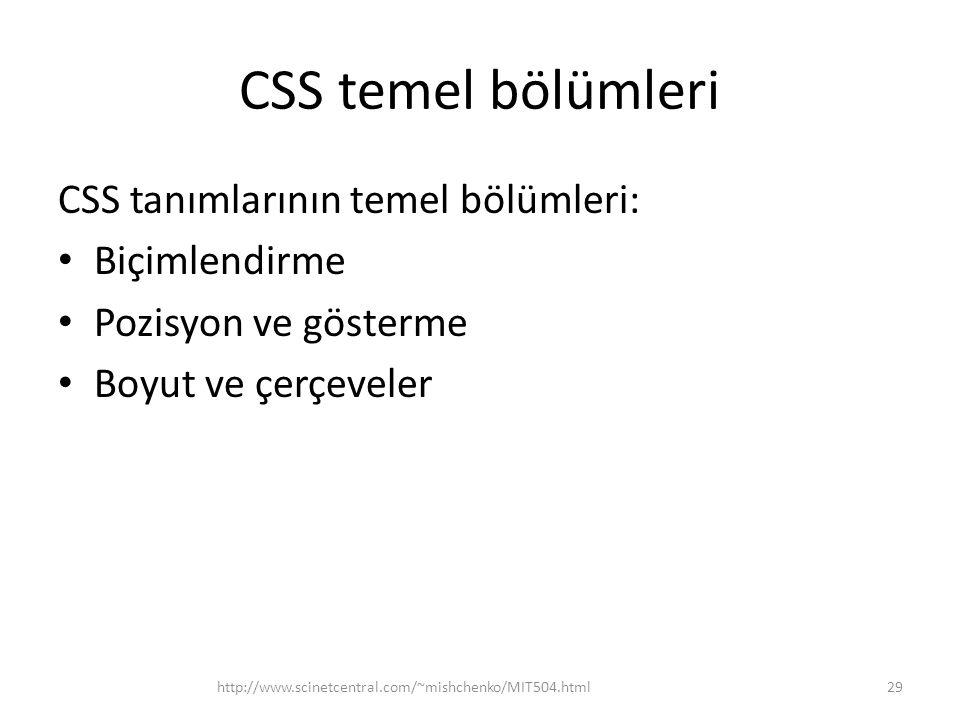 CSS temel bölümleri CSS tanımlarının temel bölümleri: Biçimlendirme