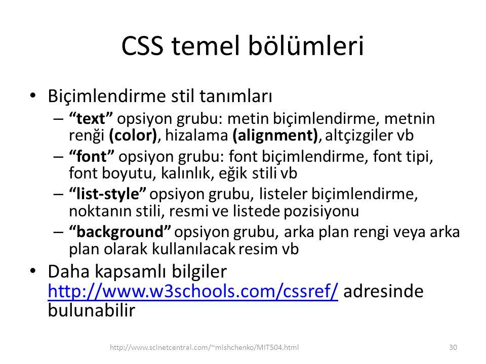CSS temel bölümleri Biçimlendirme stil tanımları
