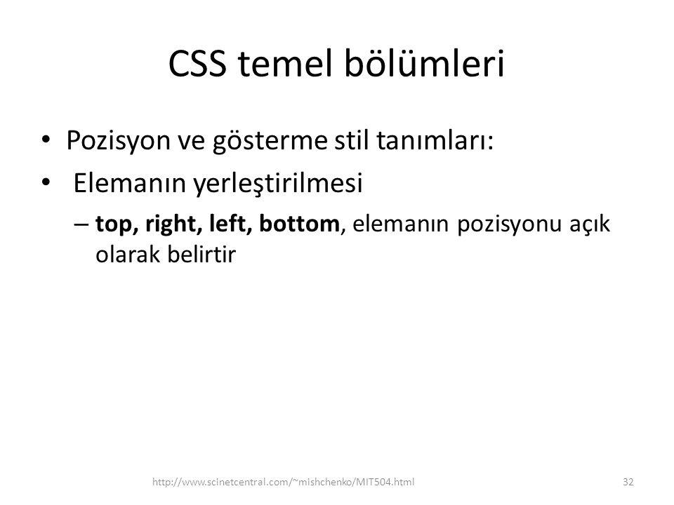 CSS temel bölümleri Pozisyon ve gösterme stil tanımları: