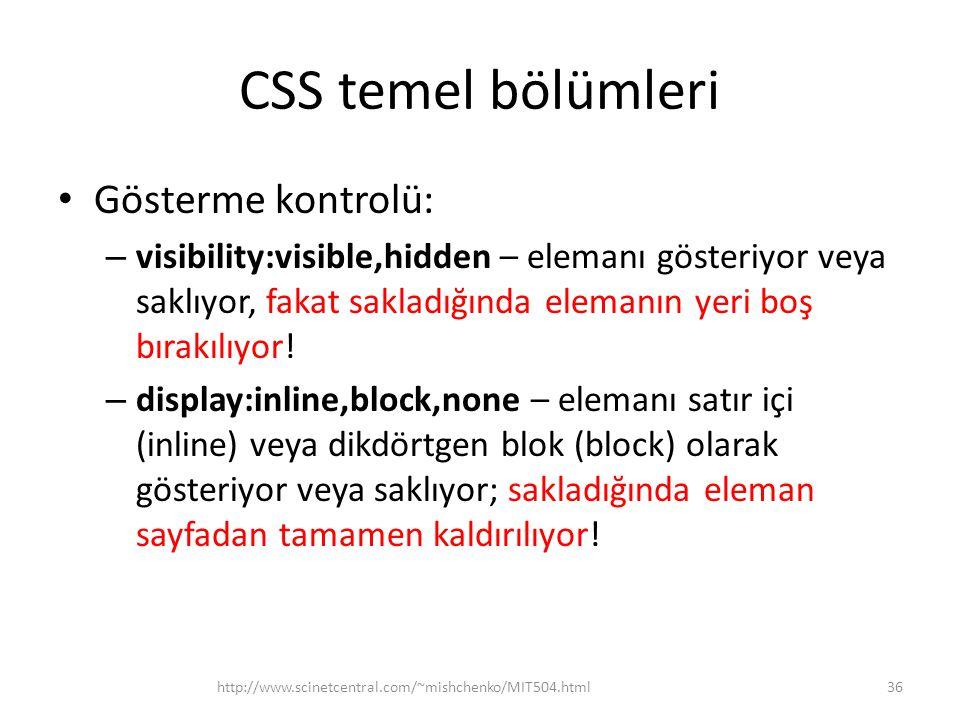 CSS temel bölümleri Gösterme kontrolü: