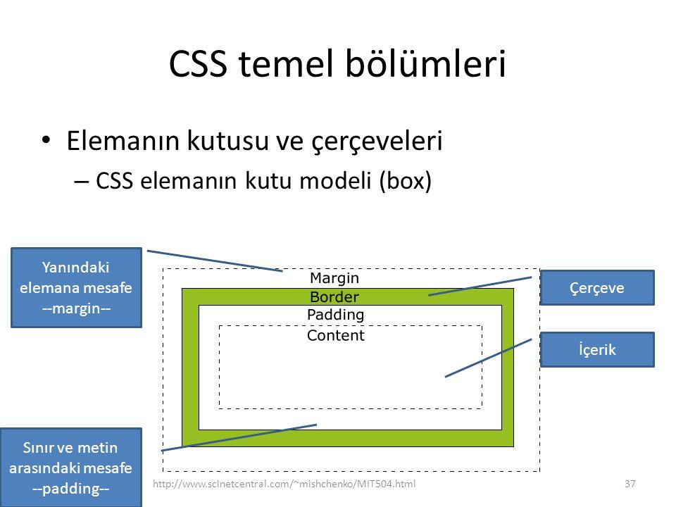 CSS temel bölümleri Elemanın kutusu ve çerçeveleri