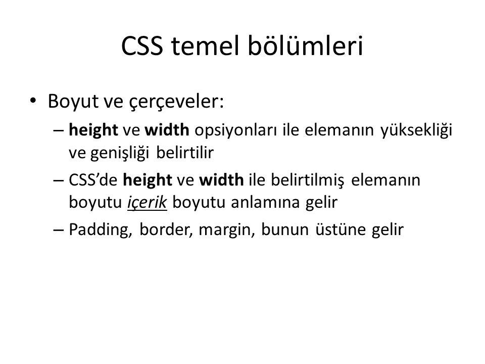 CSS temel bölümleri Boyut ve çerçeveler: