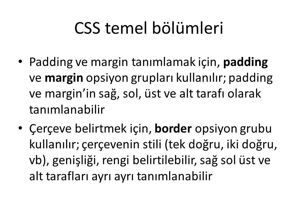 CSS temel bölümleri