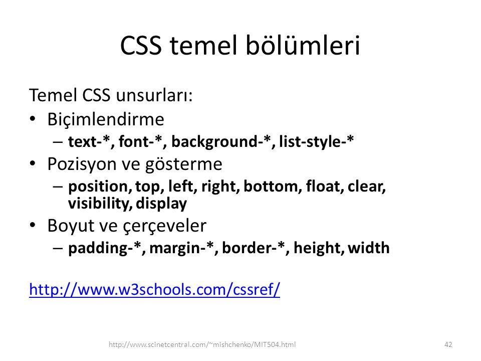 CSS temel bölümleri Temel CSS unsurları: Biçimlendirme