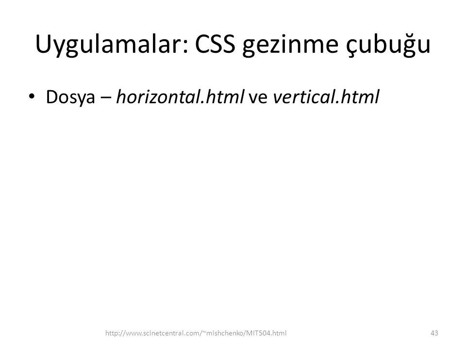 Uygulamalar: CSS gezinme çubuğu
