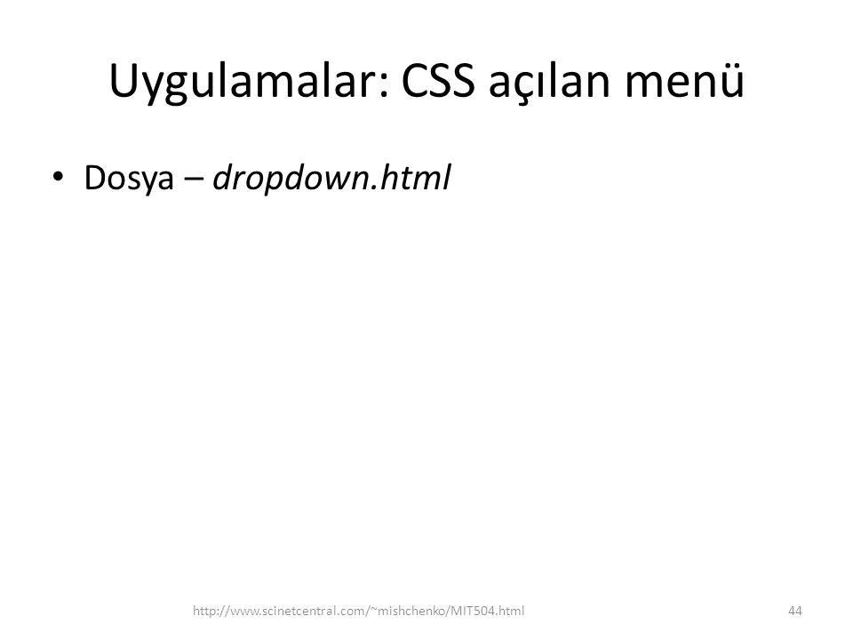 Uygulamalar: CSS açılan menü