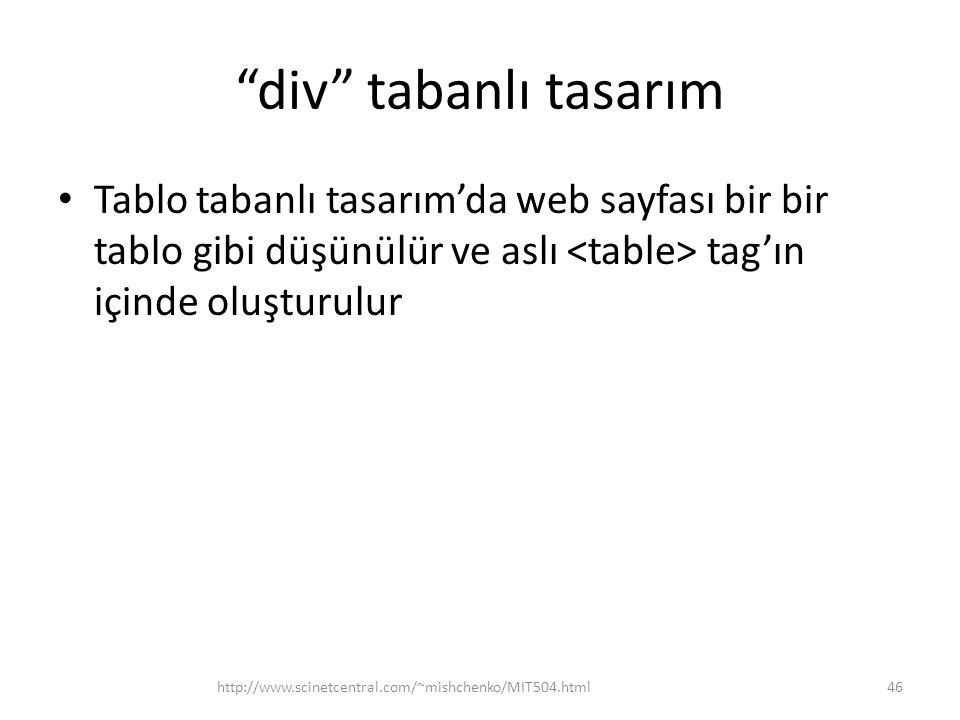 div tabanlı tasarım Tablo tabanlı tasarım'da web sayfası bir bir tablo gibi düşünülür ve aslı <table> tag'ın içinde oluşturulur.
