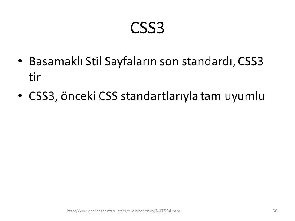 CSS3 Basamaklı Stil Sayfaların son standardı, CSS3 tir