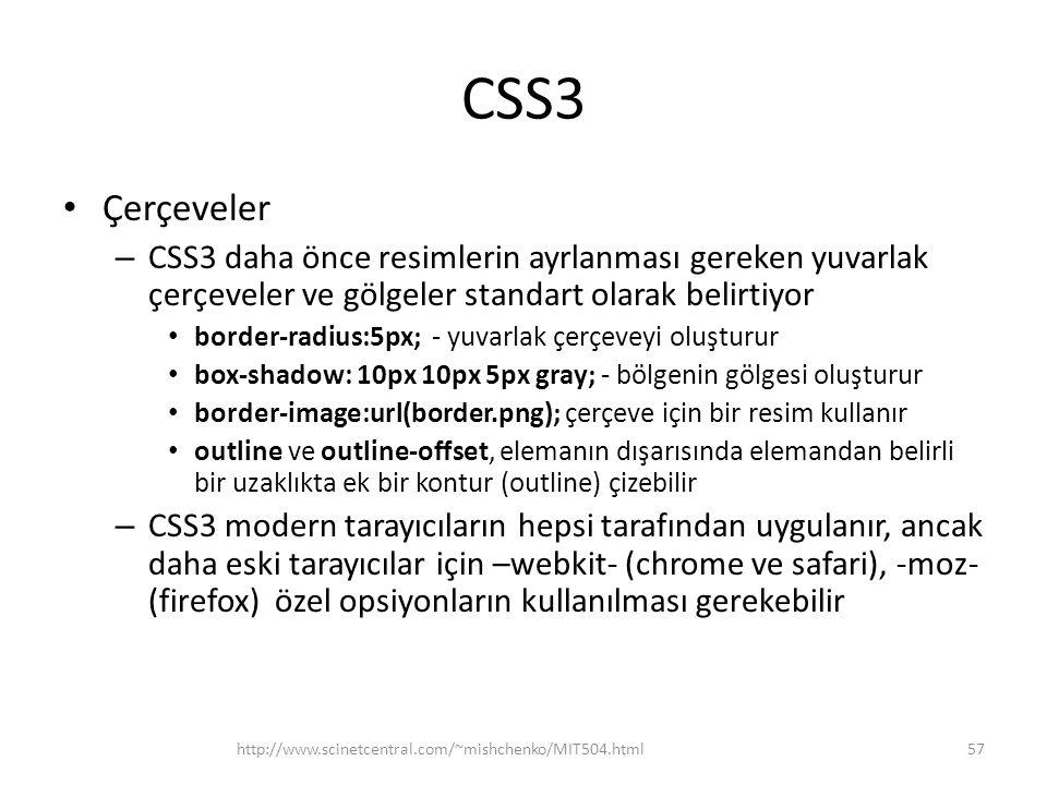 CSS3 Çerçeveler. CSS3 daha önce resimlerin ayrlanması gereken yuvarlak çerçeveler ve gölgeler standart olarak belirtiyor.