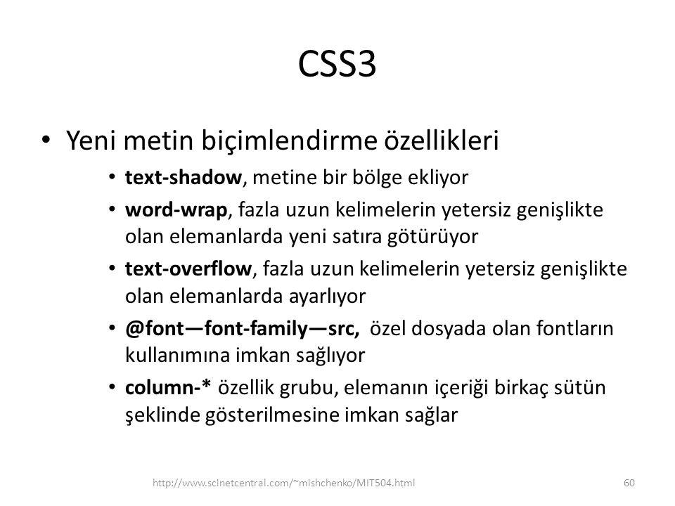 CSS3 Yeni metin biçimlendirme özellikleri