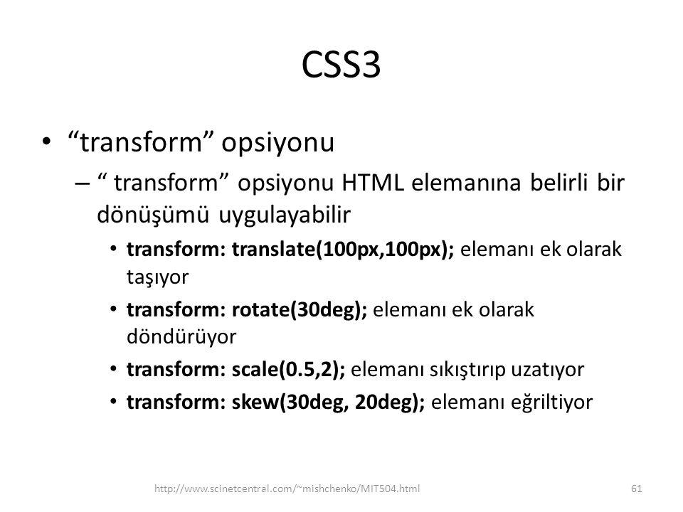 CSS3 transform opsiyonu