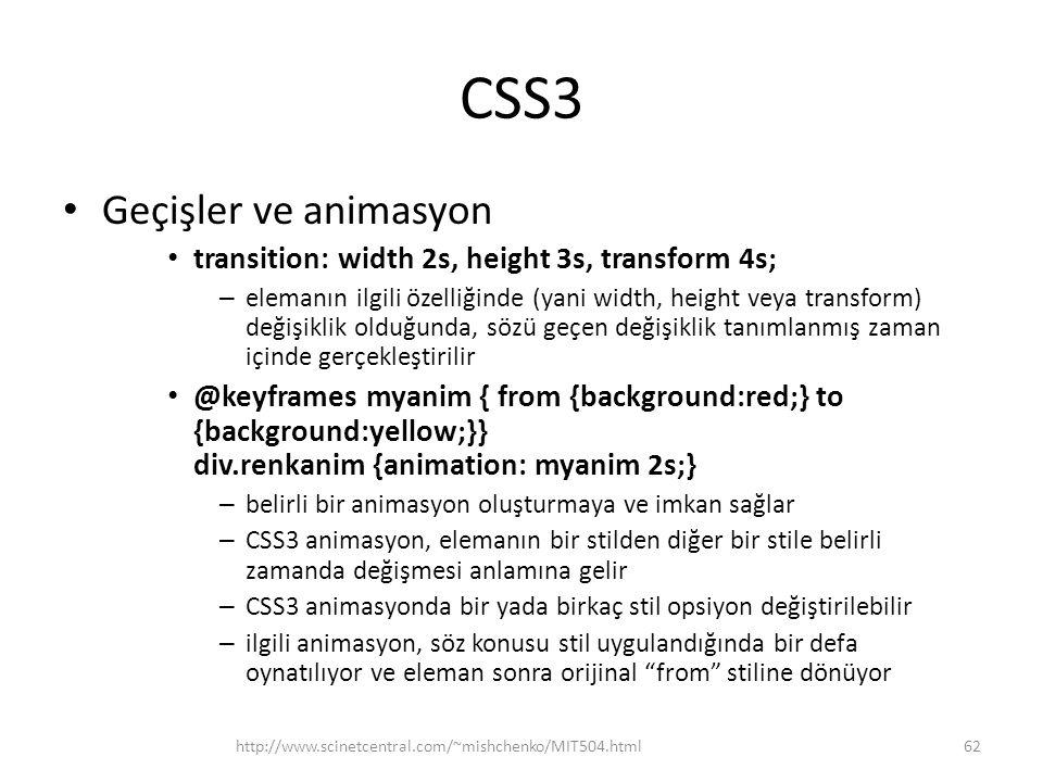 CSS3 Geçişler ve animasyon