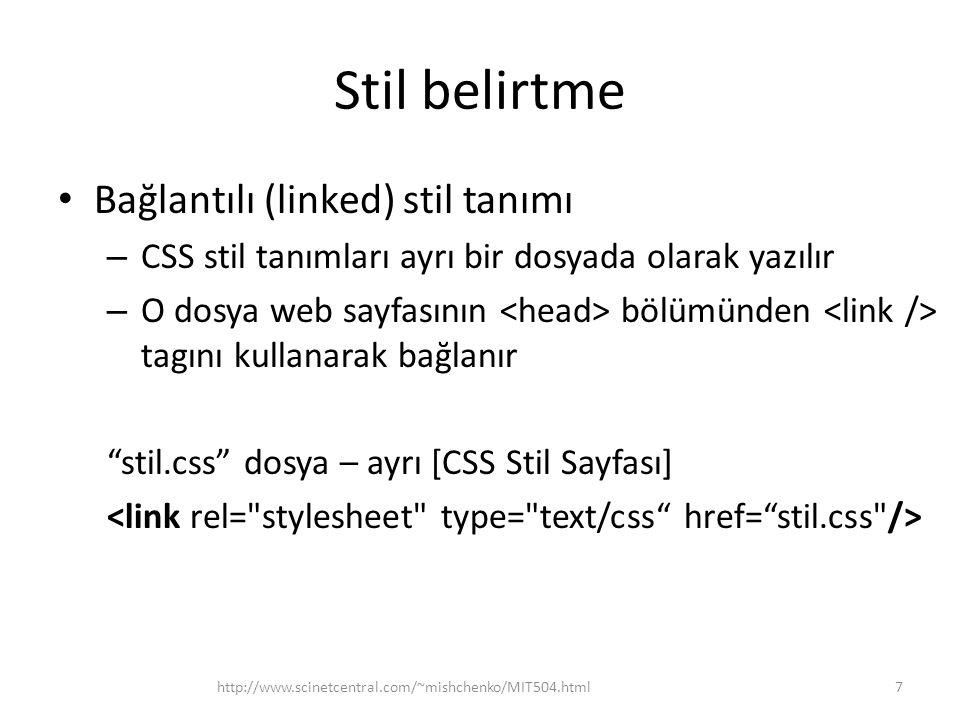 Stil belirtme Bağlantılı (linked) stil tanımı