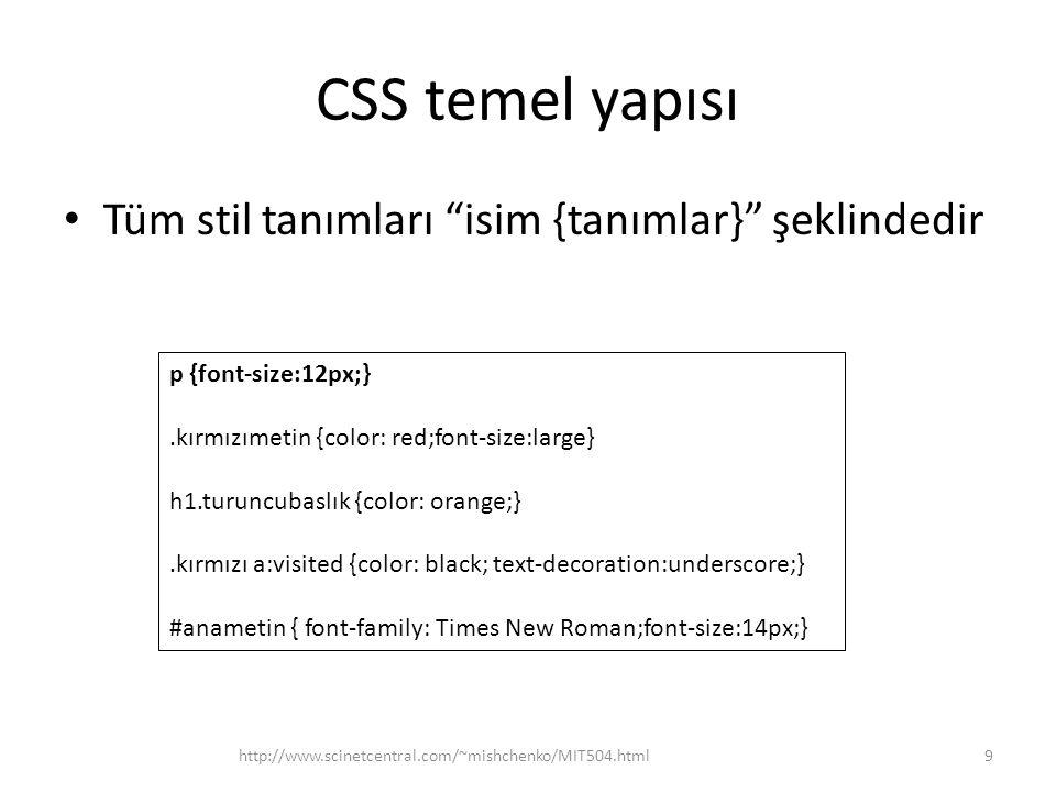 CSS temel yapısı Tüm stil tanımları isim {tanımlar} şeklindedir