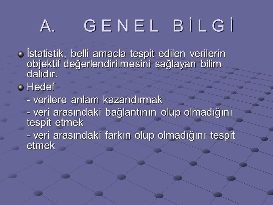 A. G E N E L B İ L G İ İstatistik, belli amacla tespit edilen verilerin objektif değerlendirilmesini sağlayan bilim dalıdır.