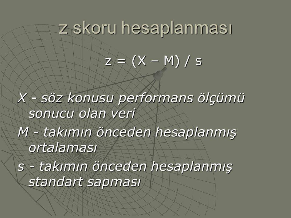 z skoru hesaplanması z = (X – M) / s