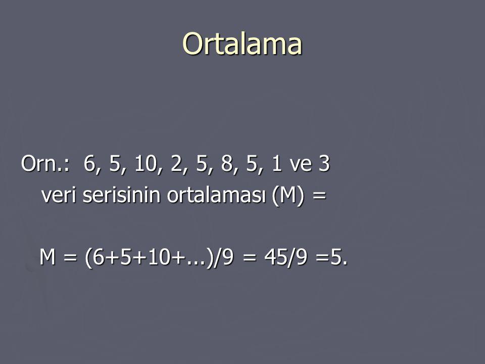 Ortalama Orn.: 6, 5, 10, 2, 5, 8, 5, 1 ve 3.