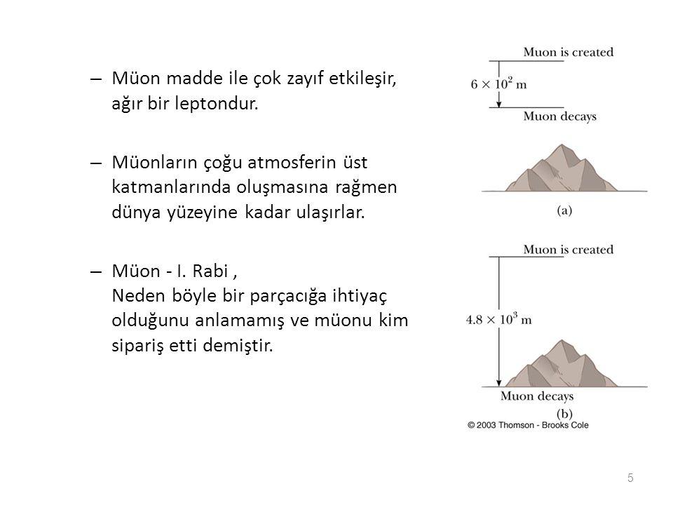 Müon madde ile çok zayıf etkileşir, ağır bir leptondur.