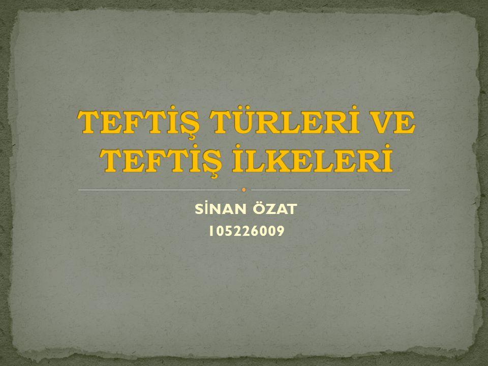 TEFTİŞ TÜRLERİ VE TEFTİŞ İLKELERİ