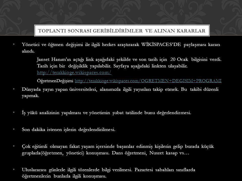 TOPLANTI SONRASI GERİBİLDİRİMLER VE ALINAN KARARLAR