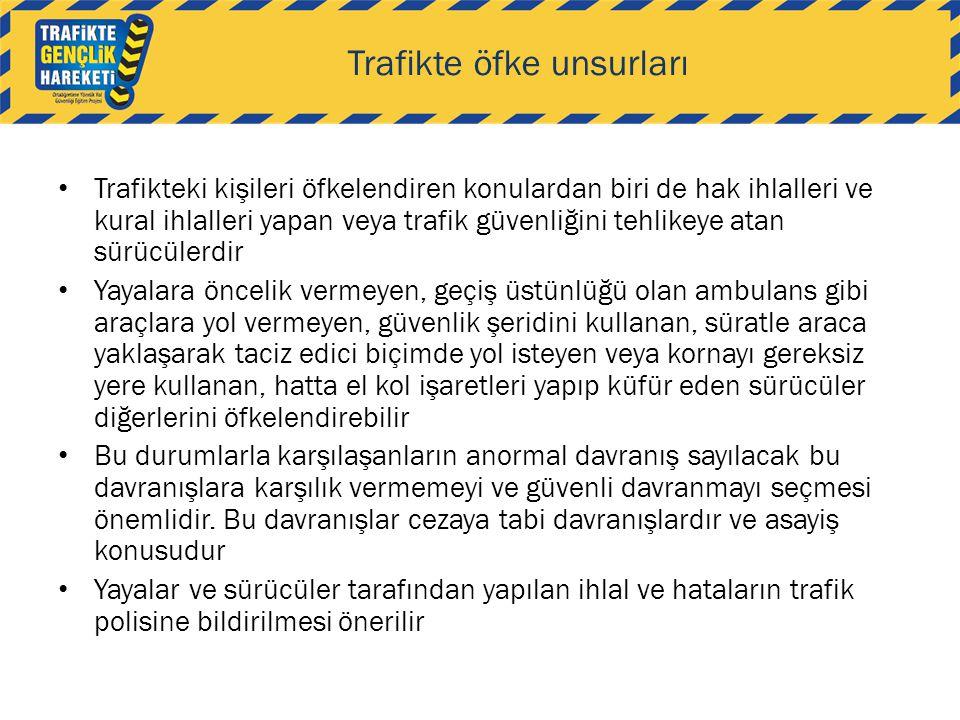 Trafikte öfke unsurları