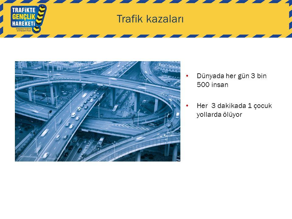 Trafik kazaları Dünyada her gün 3 bin 500 insan