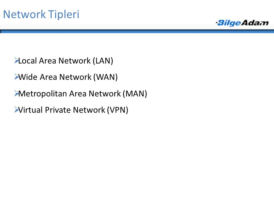 Network Tipleri Local Area Network (LAN) Wide Area Network (WAN)