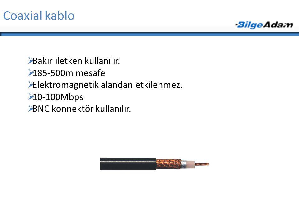 Coaxial kablo Bakır iletken kullanılır. 185-500m mesafe