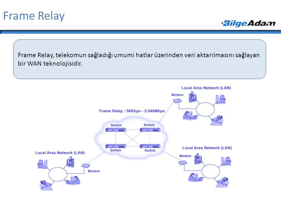 Frame Relay Frame Relay, telekomun sağladığı umumi hatlar üzerinden veri aktarılmasını sağlayan bir WAN teknolojisidir.