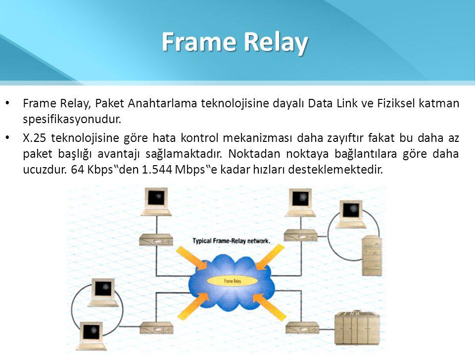 Frame Relay Frame Relay, Paket Anahtarlama teknolojisine dayalı Data Link ve Fiziksel katman spesifikasyonudur.
