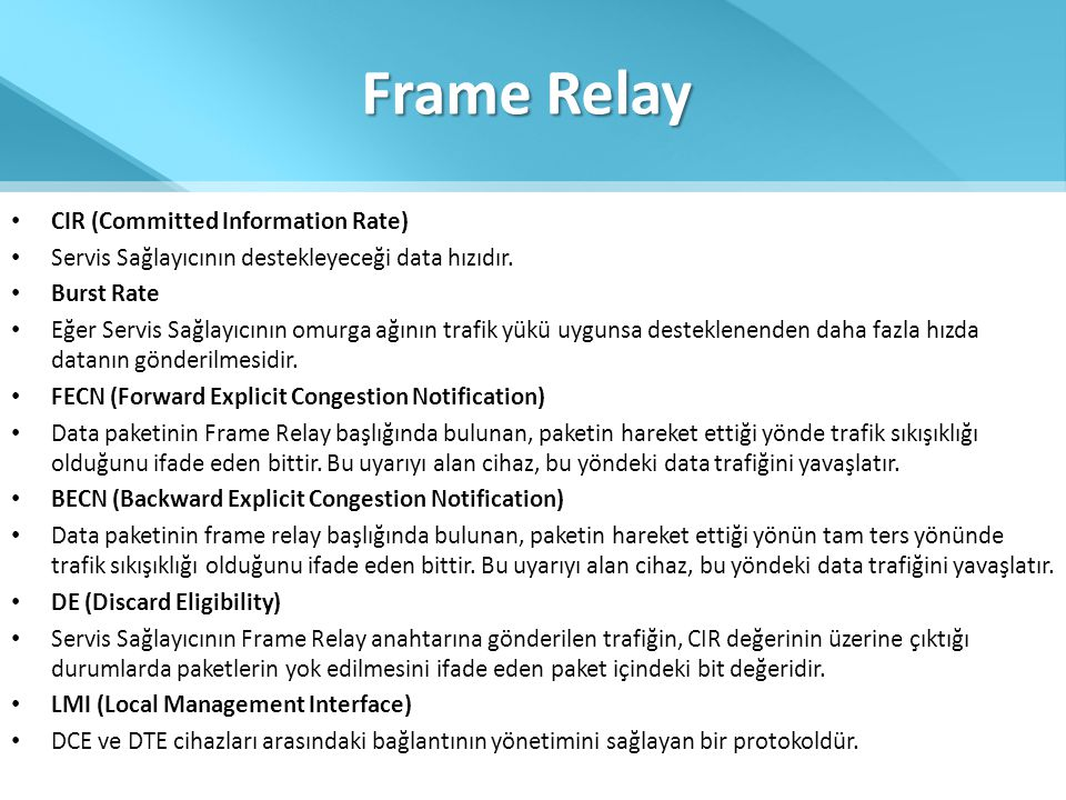 Frame Relay CIR (Committed Information Rate)