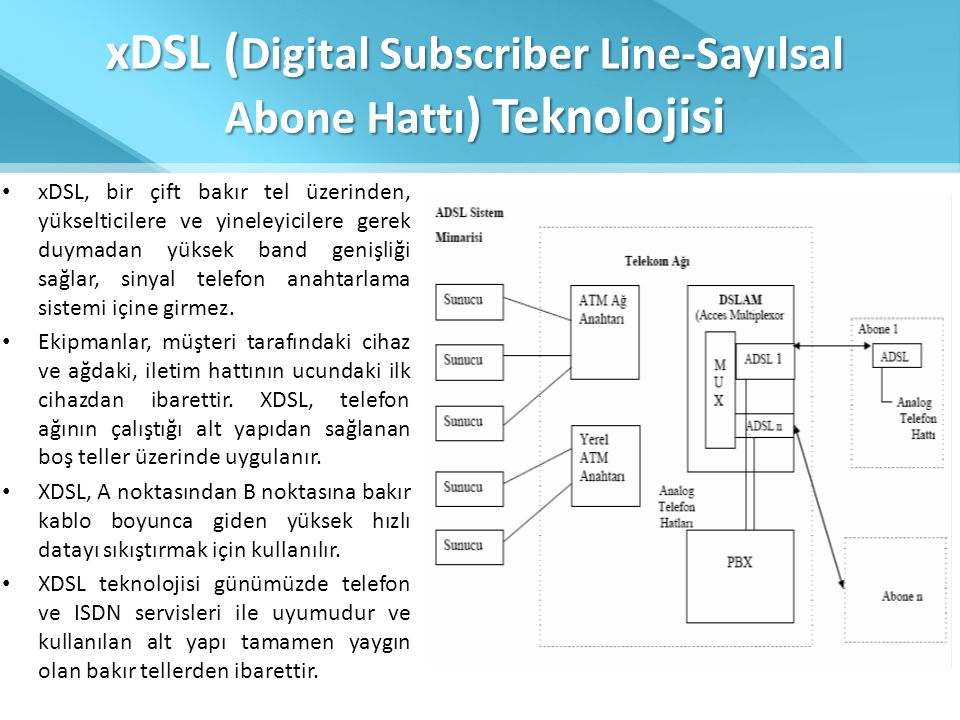 xDSL (Digital Subscriber Line-Sayılsal Abone Hattı) Teknolojisi