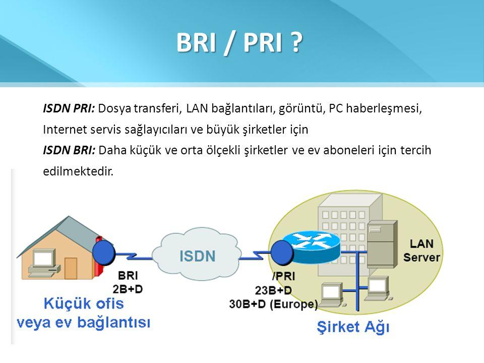 BRI / PRI ISDN PRI: Dosya transferi, LAN bağlantıları, görüntü, PC haberleşmesi, Internet servis sağlayıcıları ve büyük şirketler için.