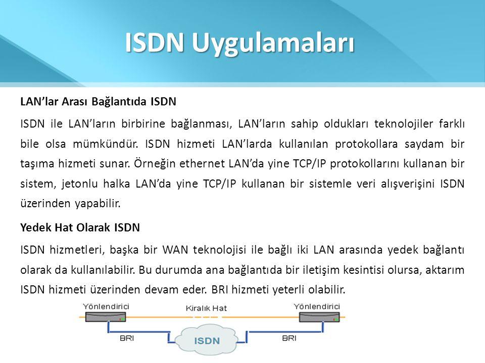 ISDN Uygulamaları LAN'lar Arası Bağlantıda ISDN
