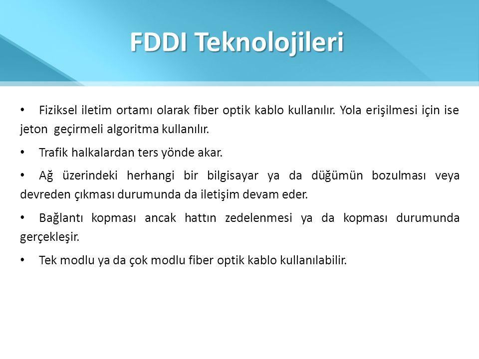 FDDI Teknolojileri Fiziksel iletim ortamı olarak fiber optik kablo kullanılır. Yola erişilmesi için ise jeton geçirmeli algoritma kullanılır.
