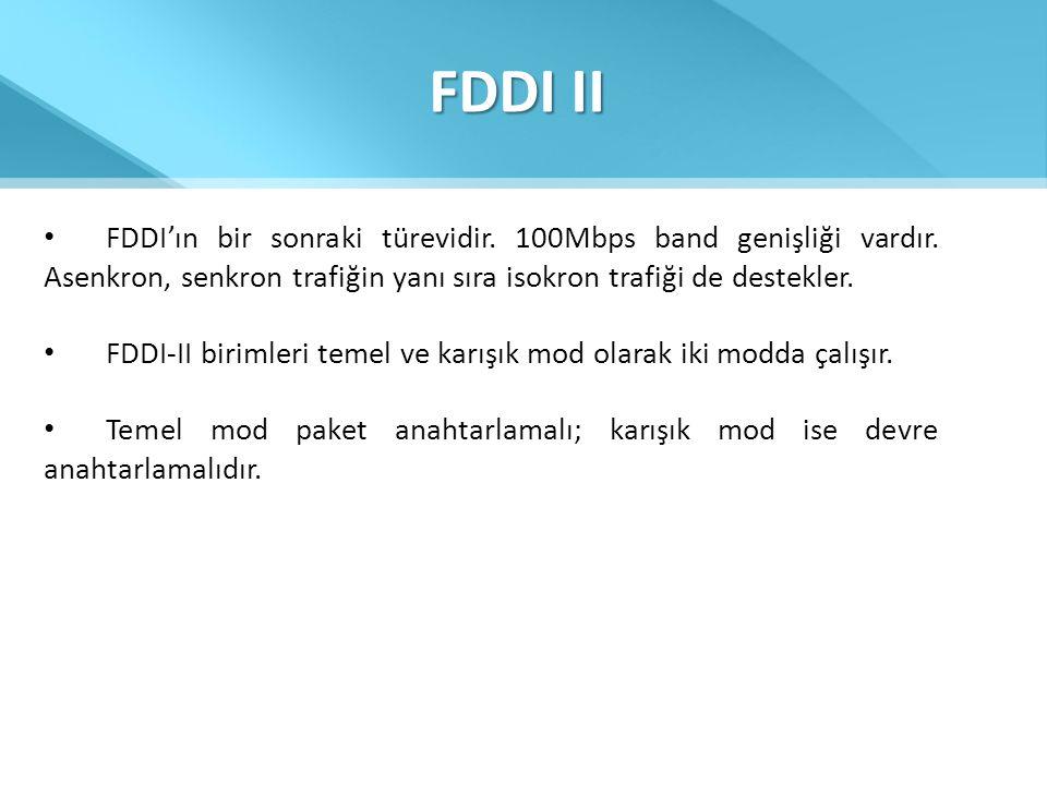 FDDI II FDDI'ın bir sonraki türevidir. 100Mbps band genişliği vardır. Asenkron, senkron trafiğin yanı sıra isokron trafiği de destekler.