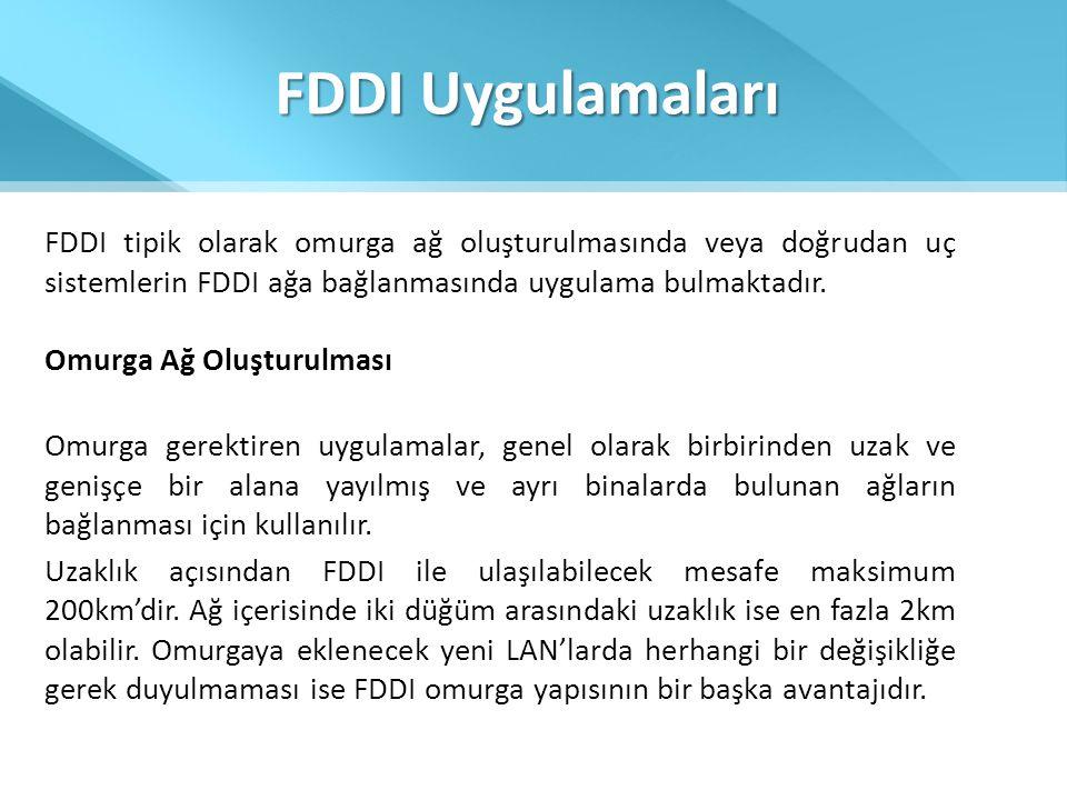 FDDI Uygulamaları FDDI tipik olarak omurga ağ oluşturulmasında veya doğrudan uç sistemlerin FDDI ağa bağlanmasında uygulama bulmaktadır.