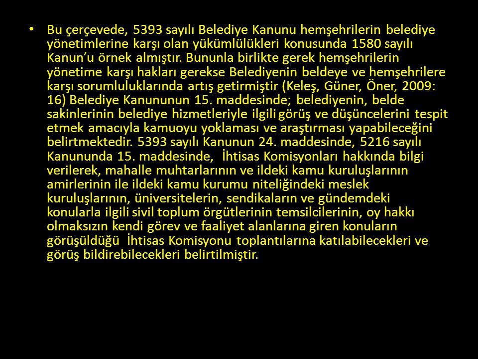 Bu çerçevede, 5393 sayılı Belediye Kanunu hemşehrilerin belediye yönetimlerine karşı olan yükümlülükleri konusunda 1580 sayılı Kanun'u örnek almıştır.